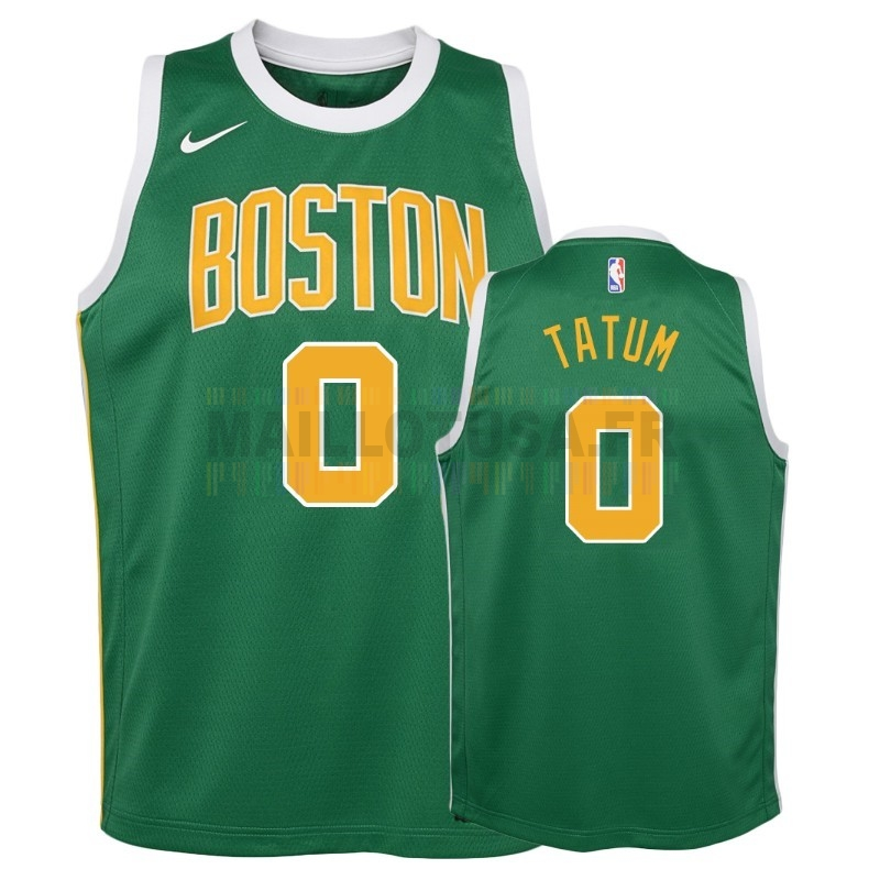 Maillot NBA Pas Cher - Maillot NBA Enfant Earned Edition Boston Celtics NO.0 Jayson Tatum Vert 2018-19
