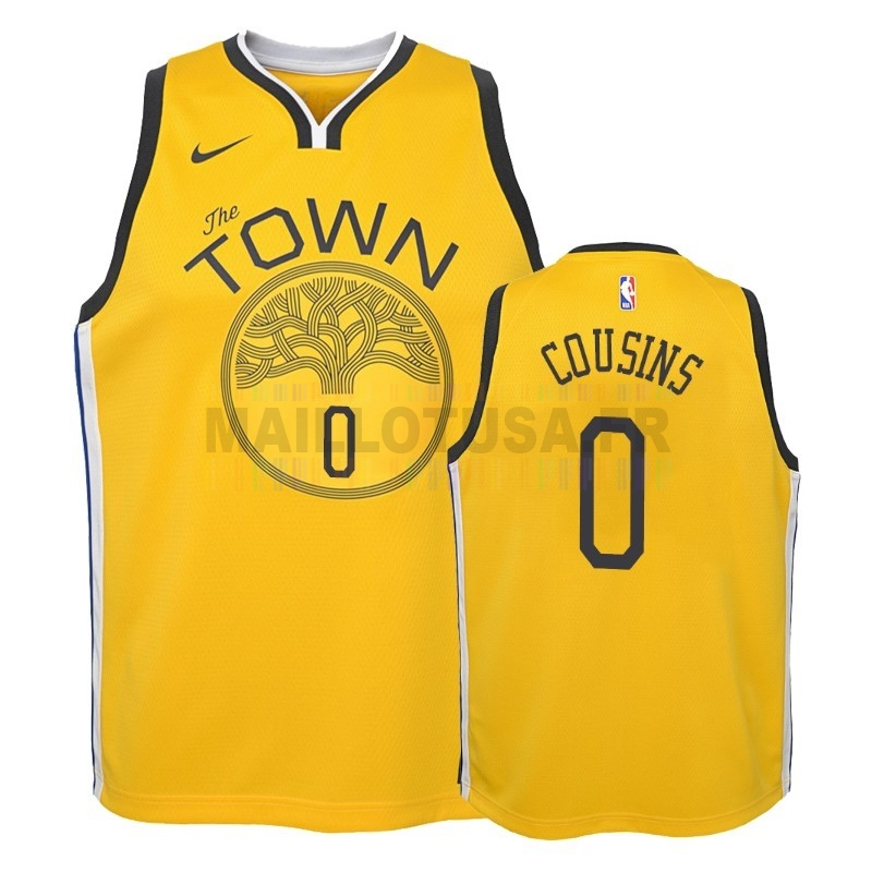 Maillot NBA Pas Cher - Maillot NBA Enfant Earned Edition Golden State Warriors NO.0 DeMarcus Cousins Jaune 2018-19