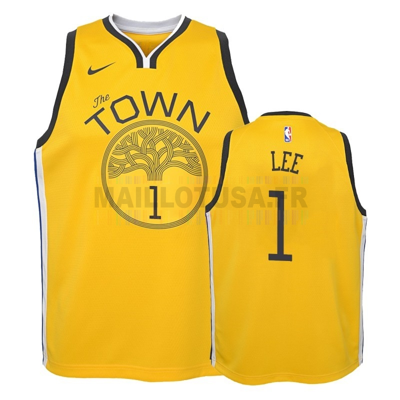 Maillot NBA Pas Cher - Maillot NBA Enfant Earned Edition Golden State Warriors NO.1 Damion Lee Jaune 2018-19
