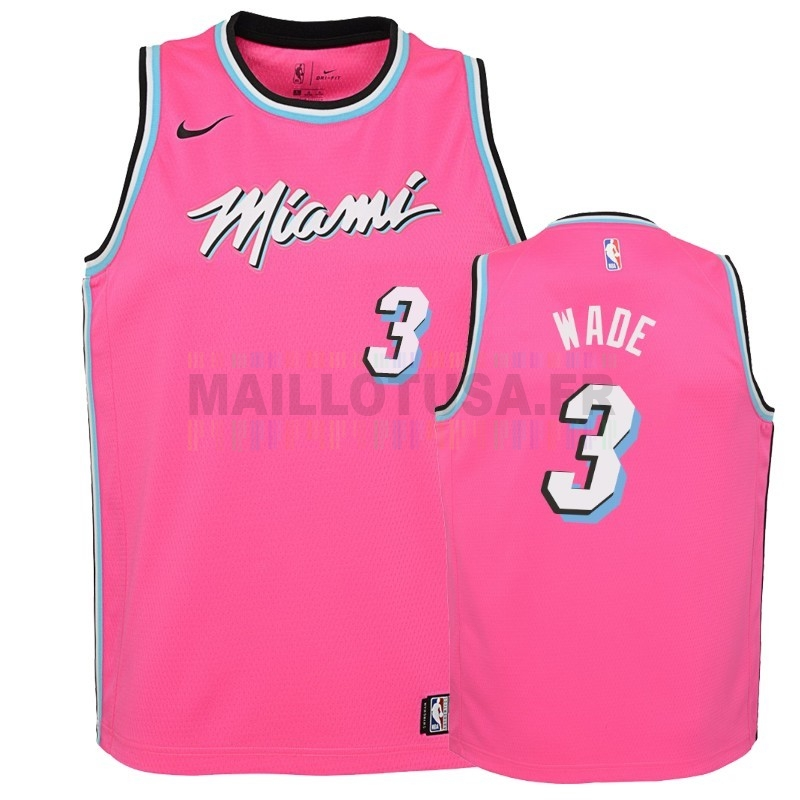 Maillot NBA Pas Cher - Maillot NBA Enfant Earned Edition Miami Heat NO.3 Dwyane Wade Rose 2018-19