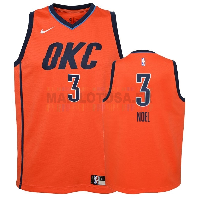 Maillot NBA Pas Cher - Maillot NBA Enfant Earned Edition Oklahoma City Thunder NO.3 Nerlens Noel Orange 2018-19