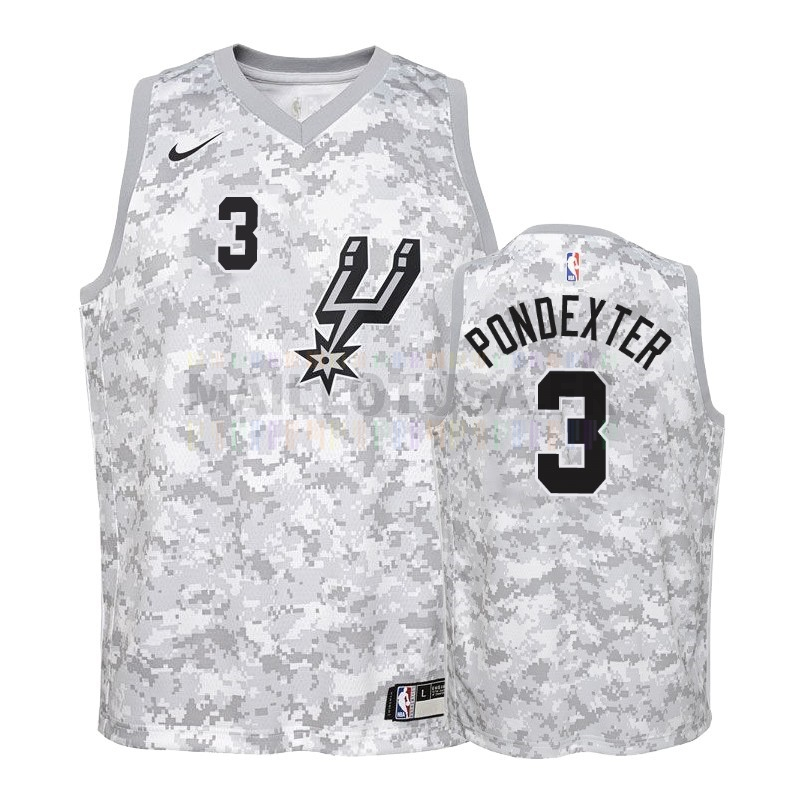 Maillot NBA Pas Cher - Maillot NBA Enfant Earned Edition San Antonio Spurs NO.3 Quincy Pondexter Gris 2018-19
