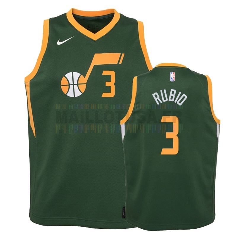 Maillot NBA Pas Cher - Maillot NBA Enfant Earned Edition Utah Jazz 2NO.3 Ricky Rubio Vert 2018-19