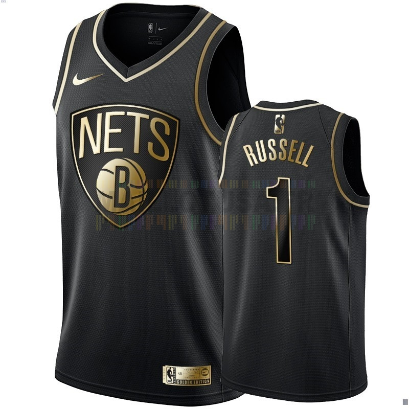 Maillot NBA Nike Brooklyn Nets NO.1 D'Angelo Russell Or Edition