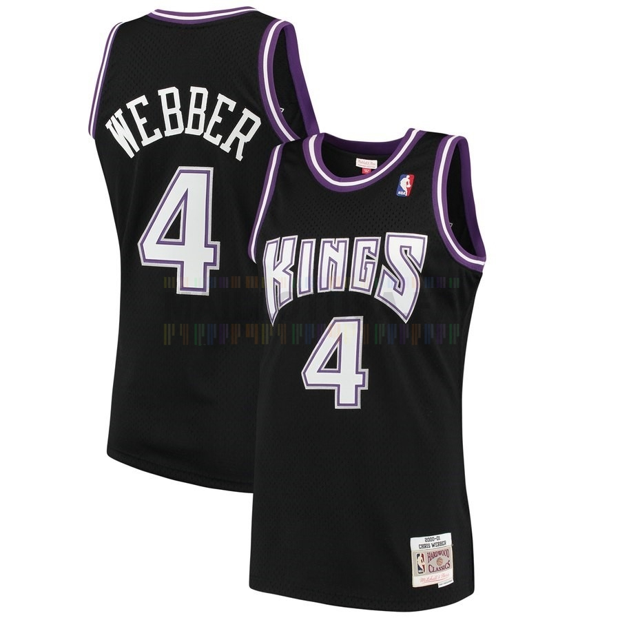 Maillot NBA Sacramento Kings NO.4 Chris Webber Noir Hardwood Classics 2000-01