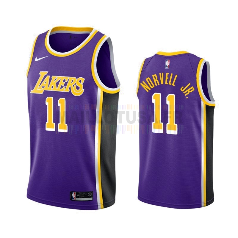 Maillot NBA Nike Los Angeles Lakers NO.11 Zach Norvell Jr Pourpre Statement 2019-20