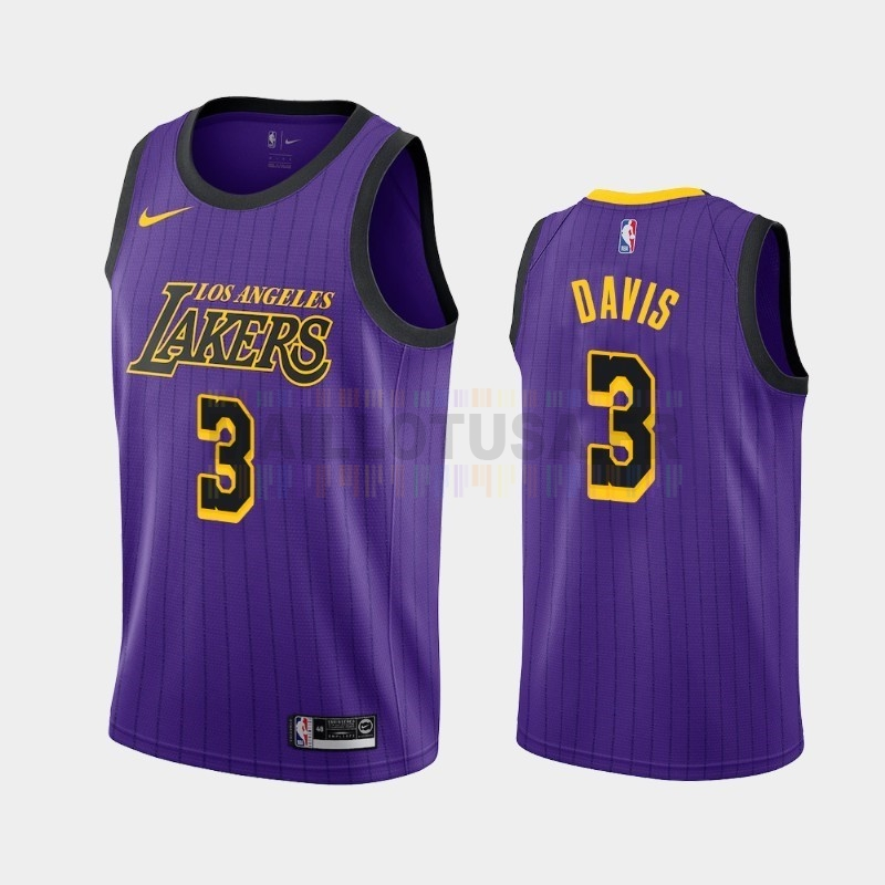 Maillot NBA Nike Los Angeles Lakers NO.3 Anthony Davis Pourpre Ville 2019-20