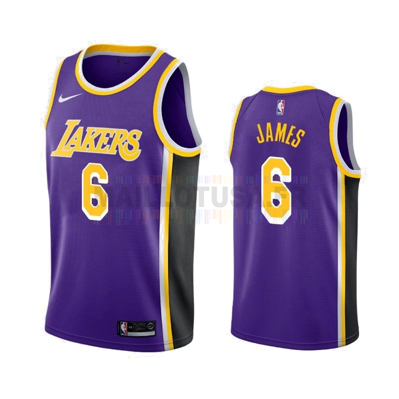 Maillot NBA Nike Los Angeles Lakers NO.6 Lebron James Purpura Statement 2019-20