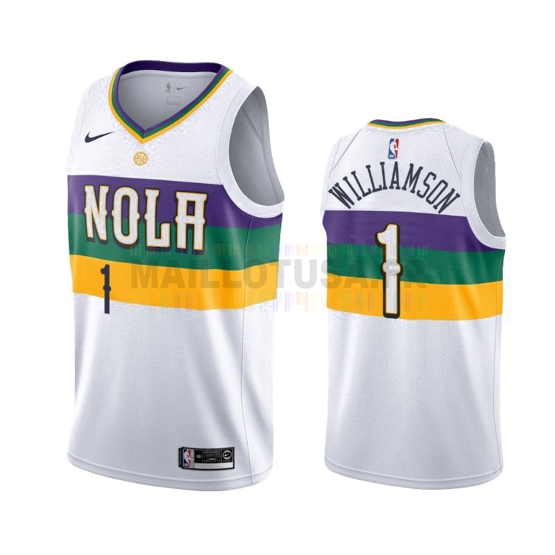 Maillot NBA Nike New Orleans Pelicans NO.1 Zion Williamson Nike Blanc Ville 2019-20