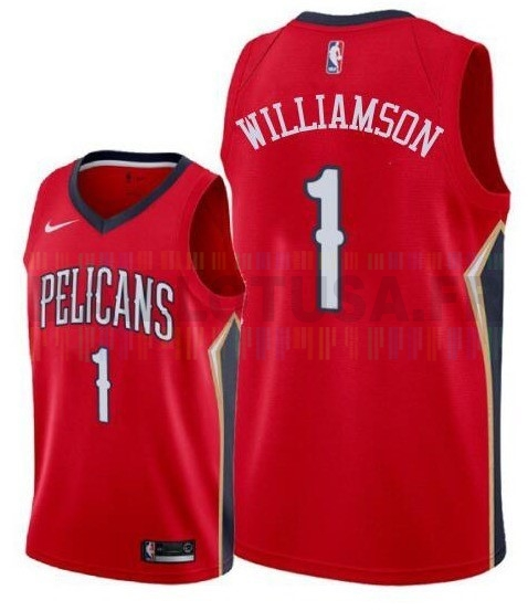 Maillot NBA Nike New Orleans Pelicans NO.1 Zion Williamson Rouge 2019-20