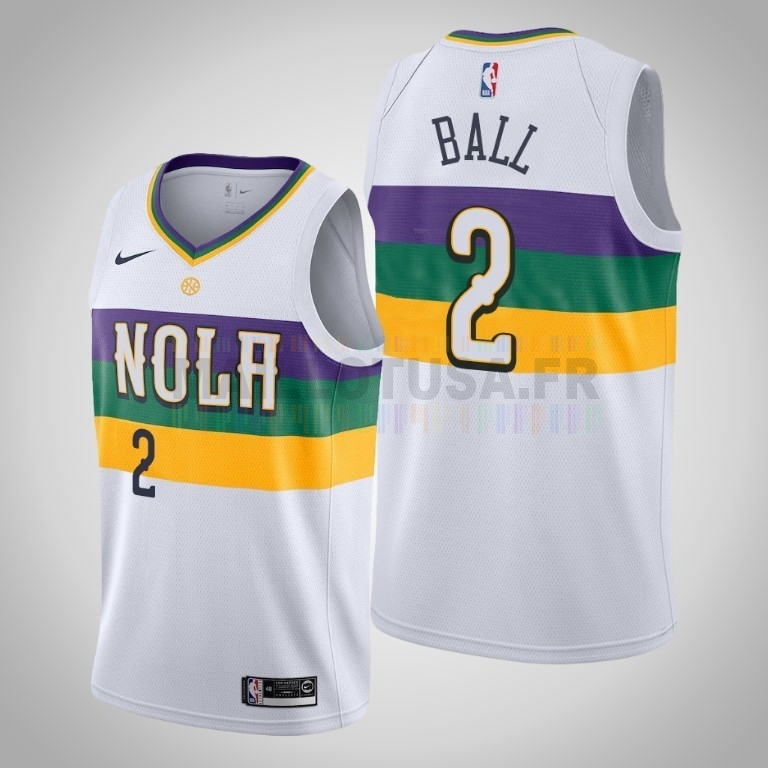 Maillot NBA Nike New Orleans Pelicans NO.2 Lonzo Ball Blanc Ville 2019-20