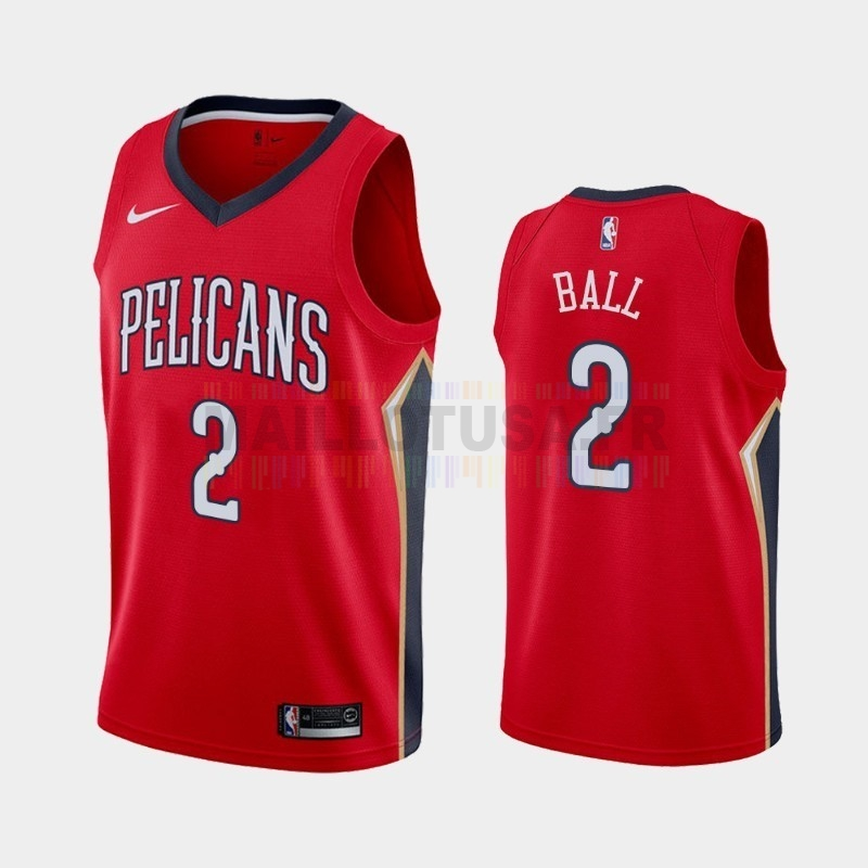 Maillot NBA Nike New Orleans Pelicans NO.2 Lonzo Ball Rouge Statement 2019-20