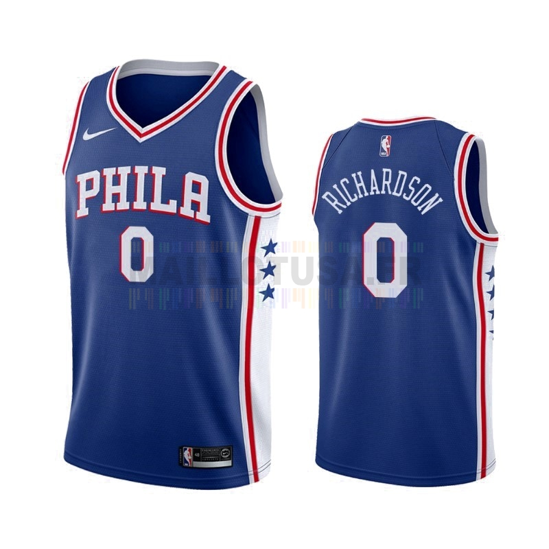 Maillot NBA Nike Philadelphia Sixers NO.0 Josh Richardson Bleu Icon 2019-20
