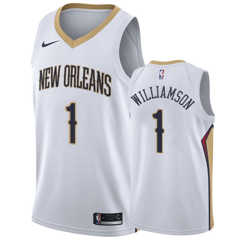 Maillot NBA Nike New Orleans Pelicans NO.1 Zion Williamson Blanc Association