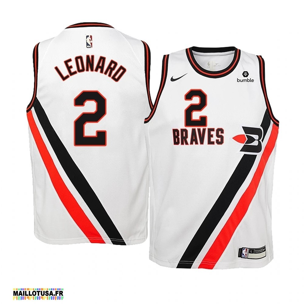 Maillot NBA Pas Cher - Maillot NBA Enfant Earned Edition Los Angeles Clippers NO.2 Kawhi Leonard Blanc