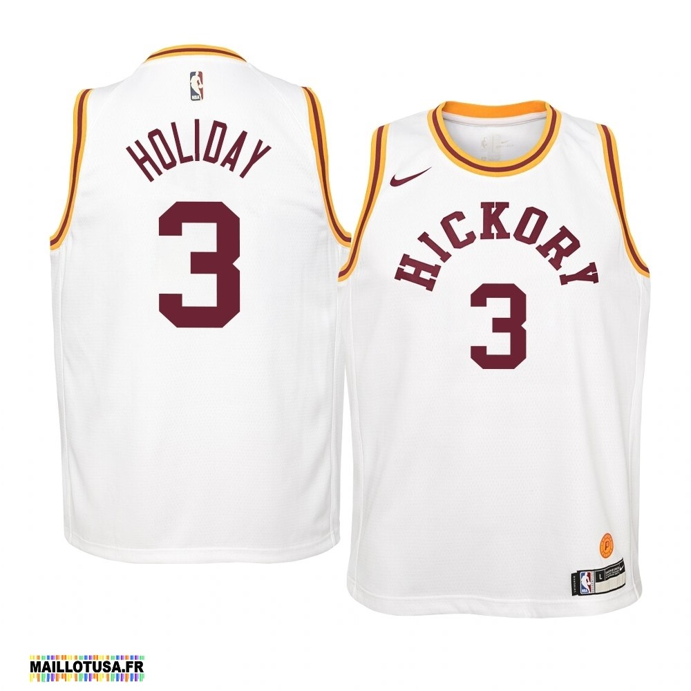 Maillot NBA Pas Cher - Maillot NBA Enfant Indiana Pacers NO.3 Aaron Holiday Nike Retro Blanc