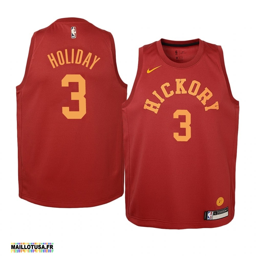 Maillot NBA Pas Cher - Maillot NBA Enfant Indiana Pacers NO.3 Aaron Holiday Nike Retro Bordeaux
