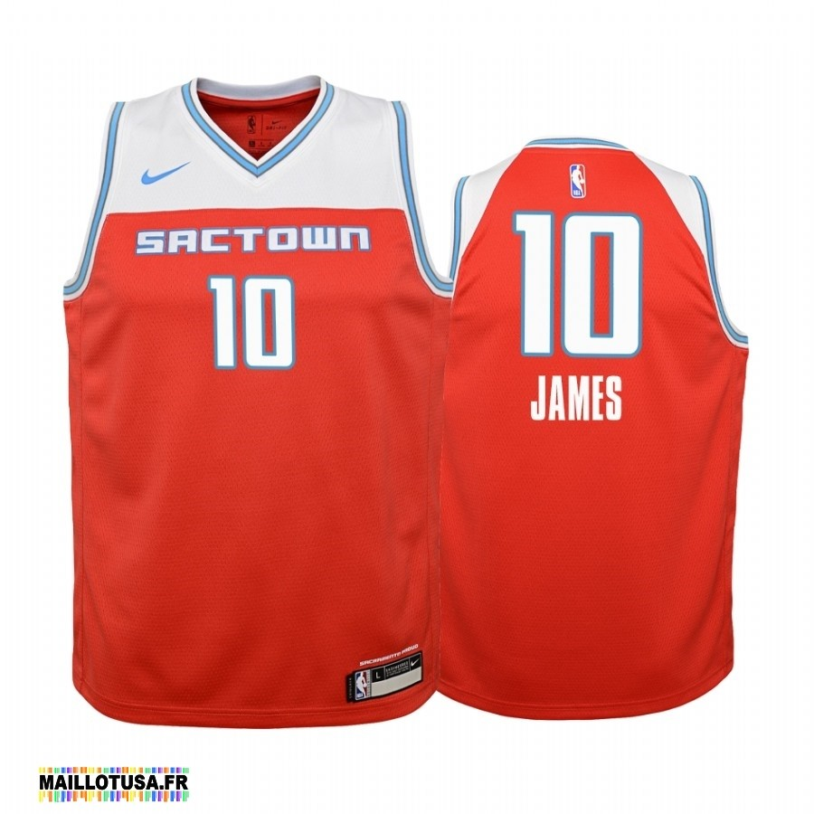 Maillot NBA Pas Cher - Maillot NBA Enfant Sacramento Kings NO.10 Justin James Nike Rouge Ville 2019-20