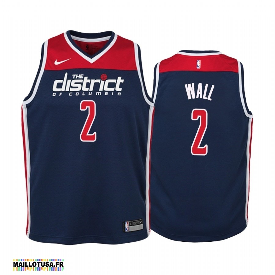 Maillot NBA Pas Cher - Maillot NBA Enfant Washington Wizards NO.2 John Wall Marine Statement 2019-20
