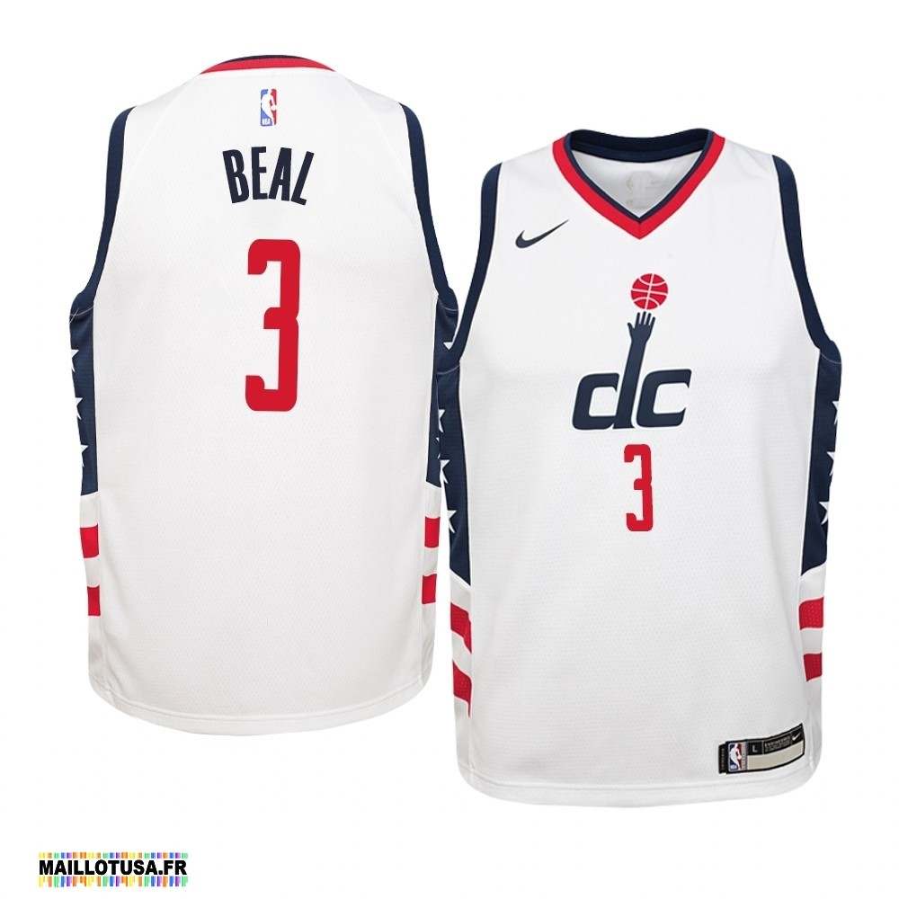 Maillot NBA Pas Cher - Maillot NBA Enfant Washington Wizards NO.3 Bradley Beal Nike Blanc Ville 2019-20