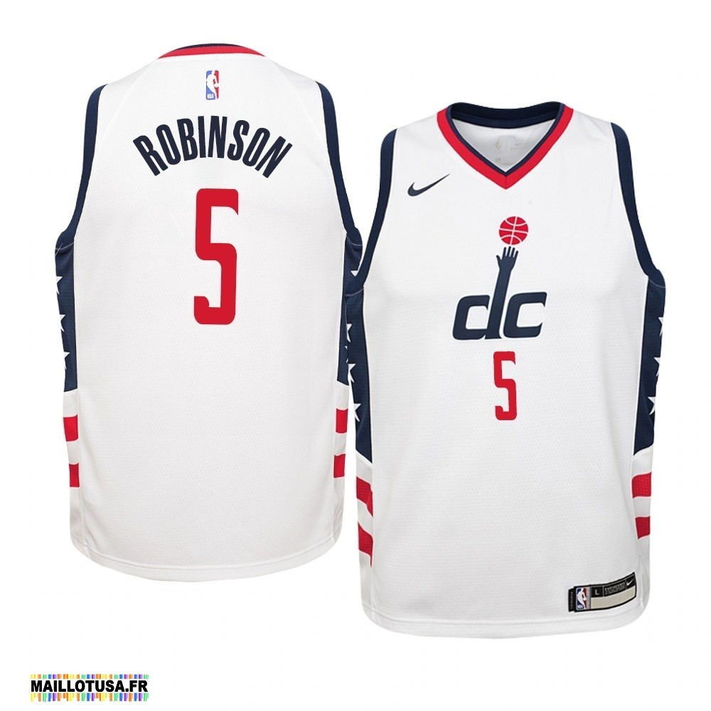 Maillot NBA Pas Cher - Maillot NBA Enfant Washington Wizards NO.5 Justin Robinson Nike Blanc Ville 2019-20