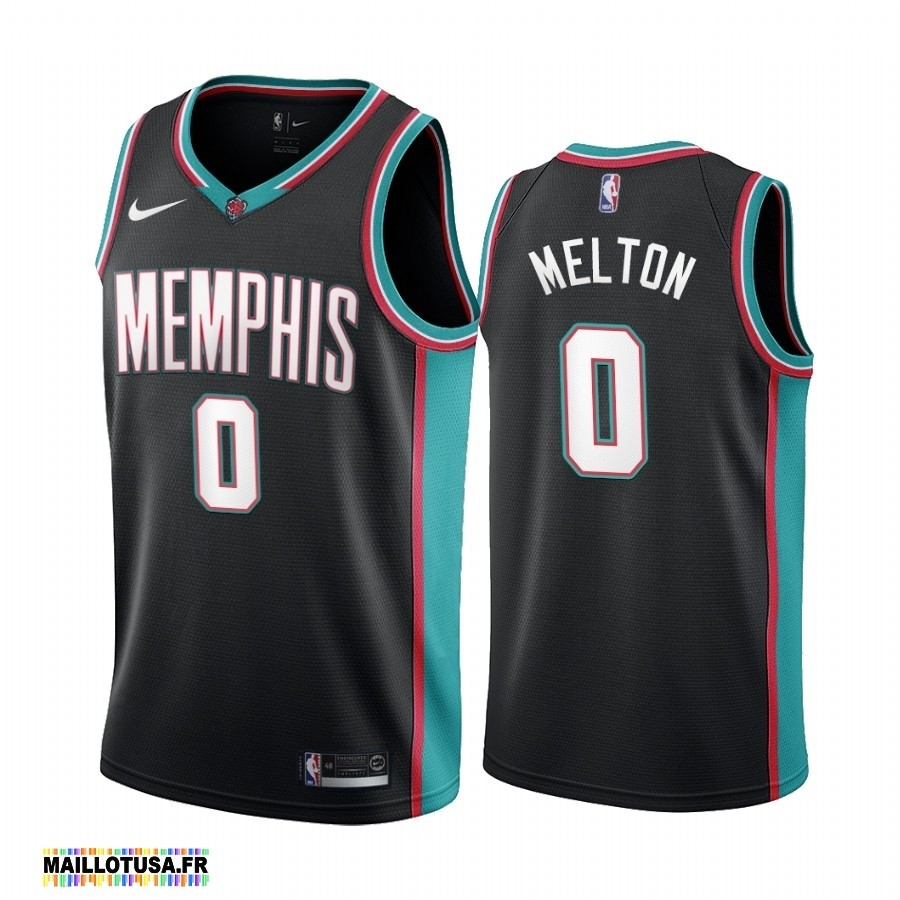 Maillot NBA Pas Cher - Maillot NBA Menphis Grizzlies NO.0 De'Anthony Melton 20th Season Classics Noir