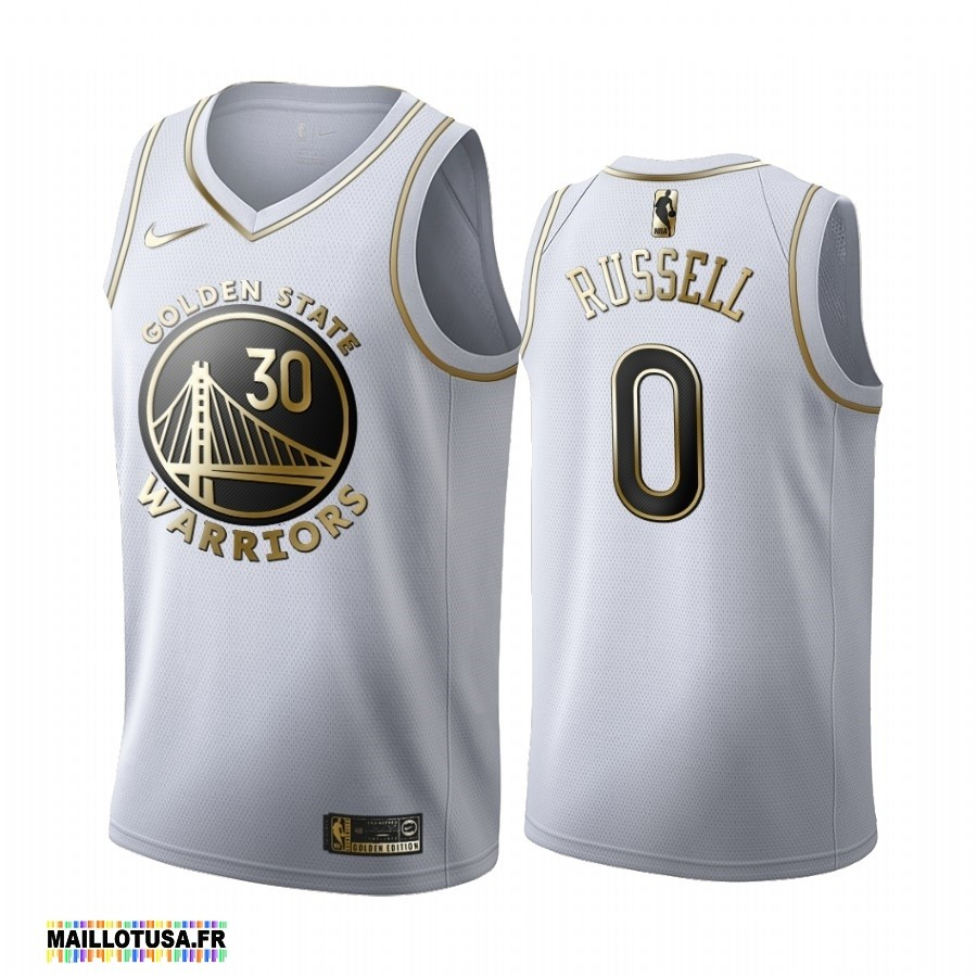 Maillot NBA Pas Cher - Maillot NBA Nike Golden State Warriors NO.0 D'Angelo Russell Blanc Or 2019-20