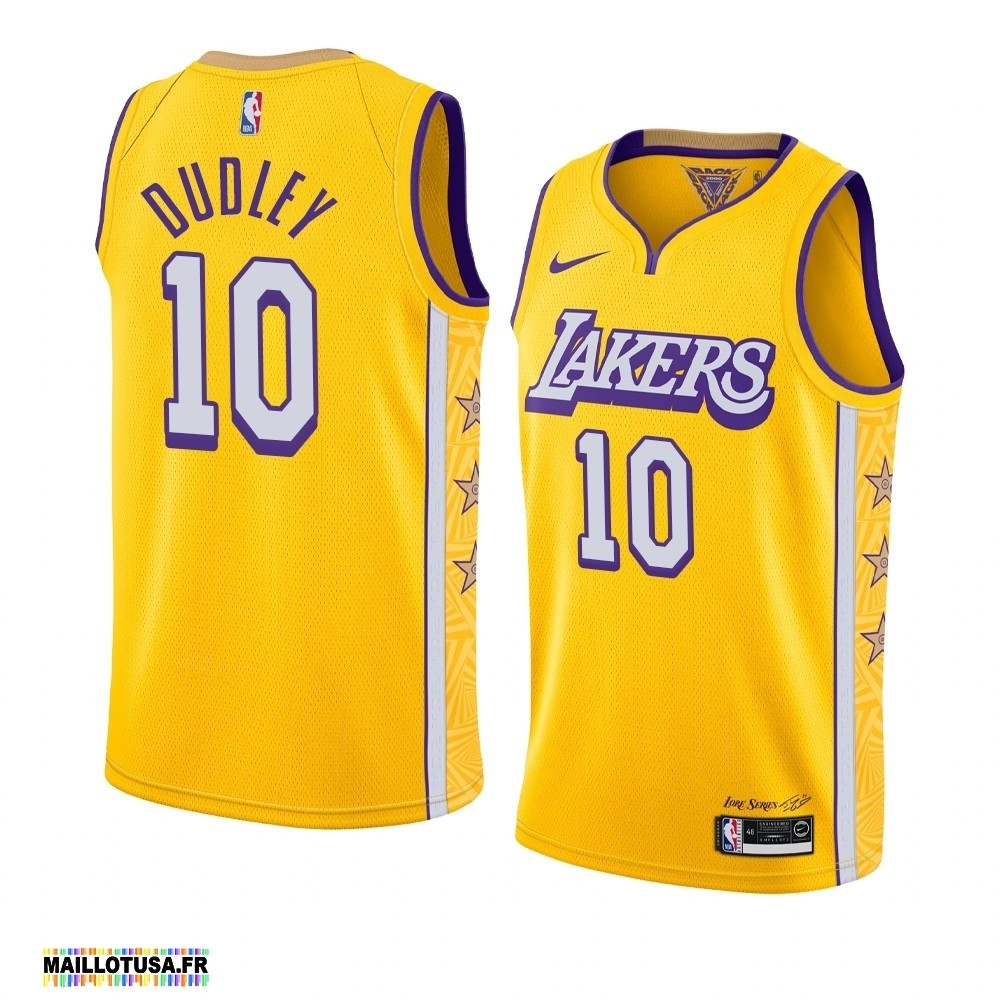 Maillot NBA Pas Cher - Maillot NBA Nike Los Angeles Lakers NO.10 Jared Dudley Nike Jaune Ville 2019-20