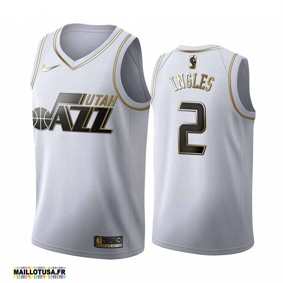 Maillot NBA Pas Cher - Maillot NBA Nike Utah Jazz NO.2 Joe Ingles Blanc Or 2019-20
