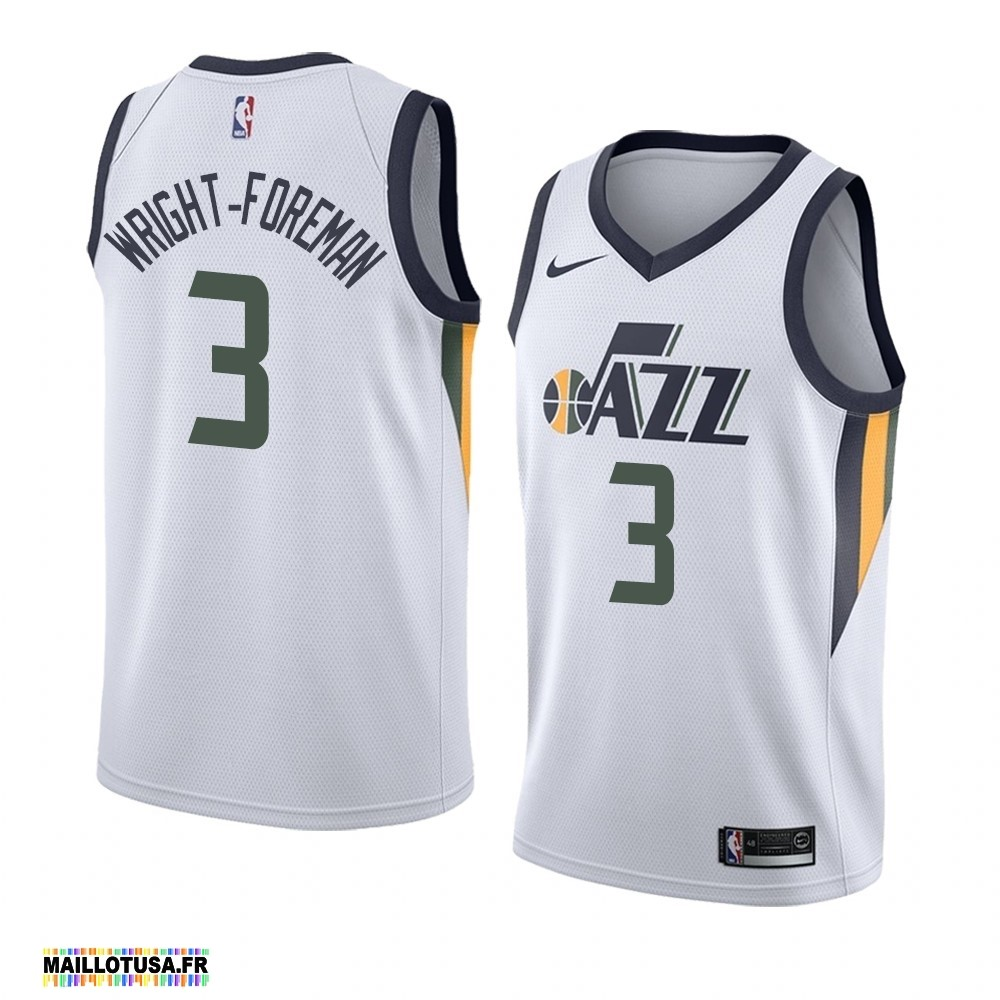 Maillot NBA Pas Cher - Maillot NBA Nike Utah Jazz NO.3 Justin Wright-Foreman Blanc Association 2019-20