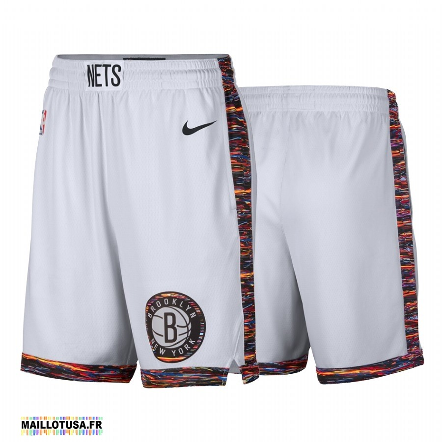 Maillot NBA Pas Cher - Short Basket Brooklyn Nets Nike Blanc Ville 2019-20