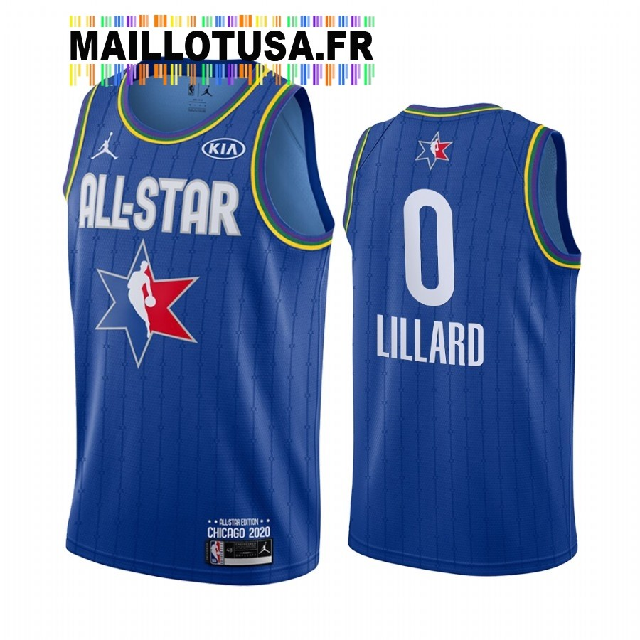 Maillot NBA 2020 All Star NO.0 Damian Lillard Bleu