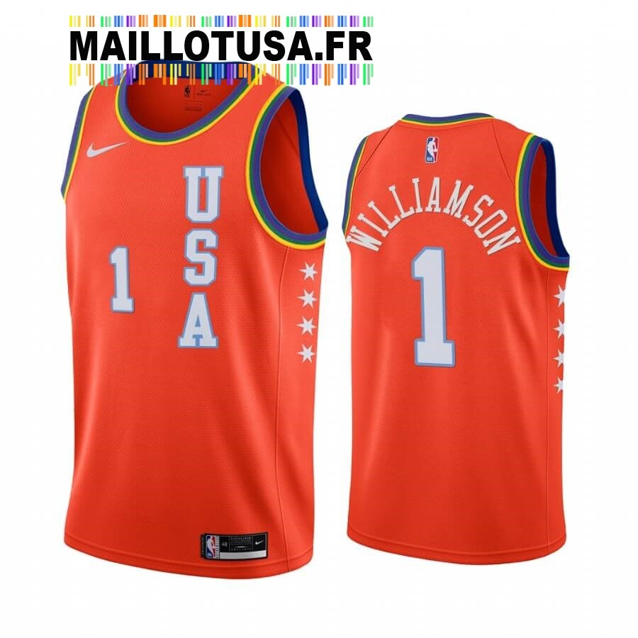 Maillot NBA 2020 Rising Star NO.1 Zion Williamson Orange