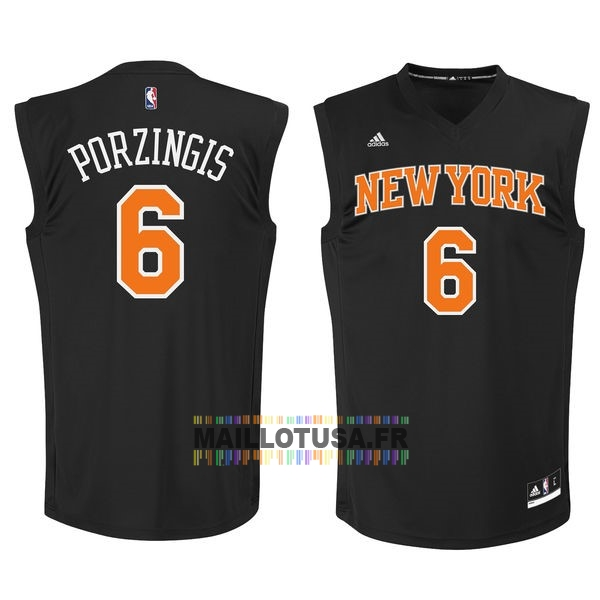 Maillot NBA Pas Cher - Maillot NBA New York Knicks NO.6 Kristaps Porzingis Noir Orange