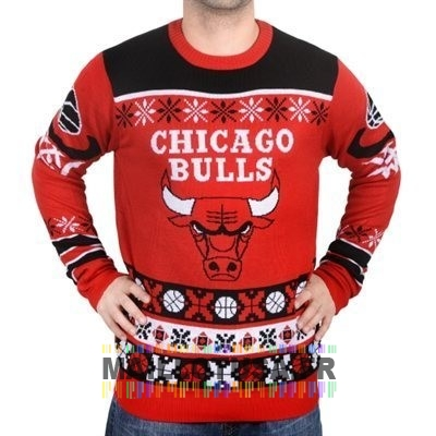 Maillot NBA Pas Cher - Unisex Ugly Sweater Chicago Bulls Rouge