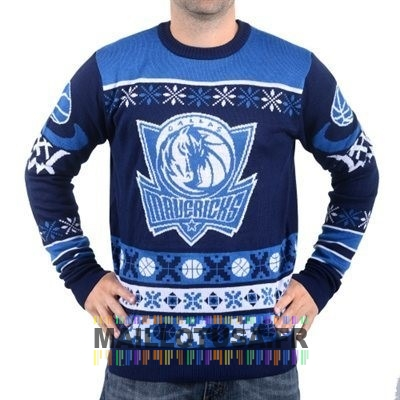 Maillot NBA Pas Cher - Unisex Ugly Sweater Dallas Mavericks Bleu