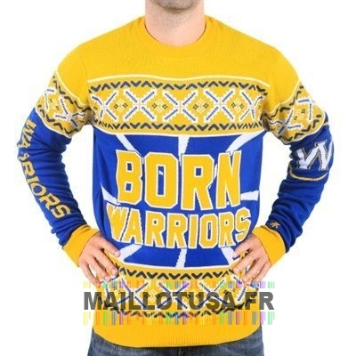 Maillot NBA Pas Cher - Unisex Ugly Sweater Golden State Warriors Jaune