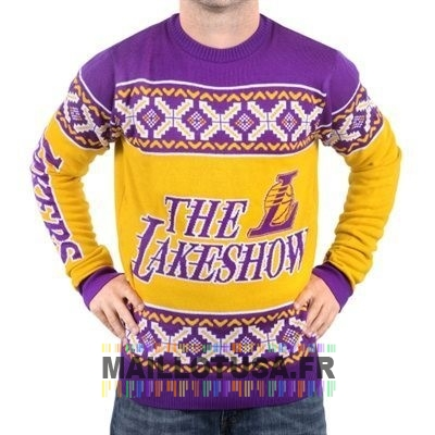 Maillot NBA Pas Cher - Unisex Ugly Sweater Los Angeles Lakers Jaune Pourpre