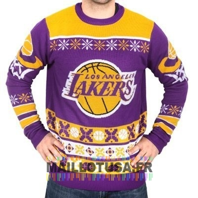 Maillot NBA Pas Cher - Unisex Ugly Sweater Los Angeles Lakers Jaune