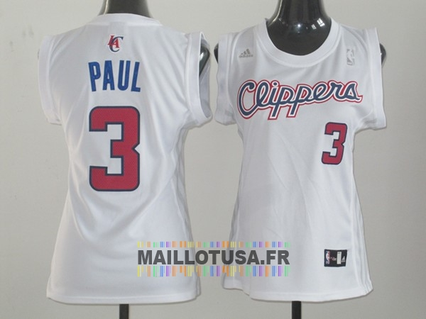 Maillot NBA Pas Cher - Maillot NBA Femme Los Angeles Clippers NO.3 Chris Paul Blanc