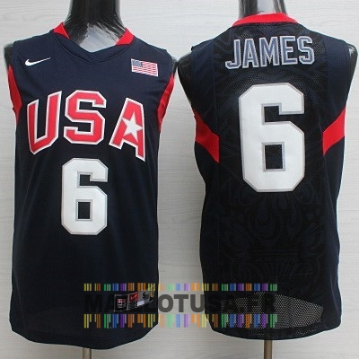 Maillot NBA Pas Cher - Maillot NBA 2008 USA NO.6 James Noir