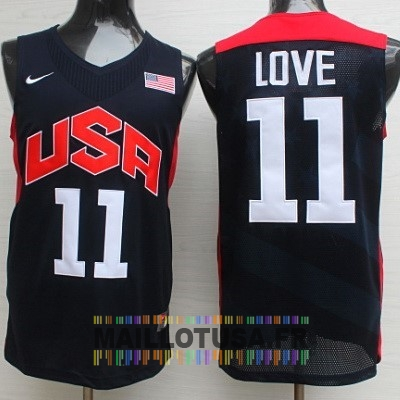 Maillot NBA Pas Cher - Maillot NBA 2012 USA NO.11 Kevin Love Noir