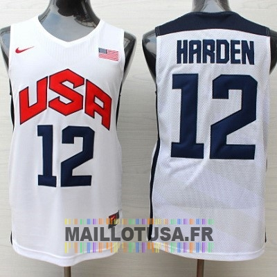Maillot NBA Pas Cher - Maillot NBA 2012 USA NO.12 James Harden Blanc