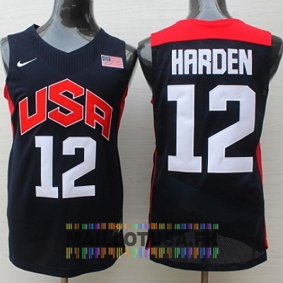 Maillot NBA Pas Cher - Maillot NBA 2012 USA NO.12 James Harden Noir