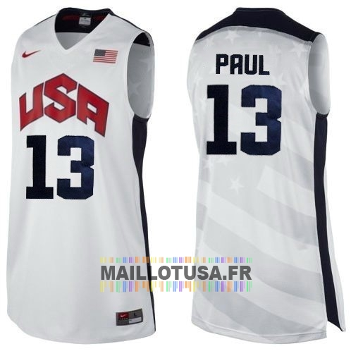 Maillot NBA Pas Cher - Maillot NBA 2012 USA NO.13 Paul Blanc