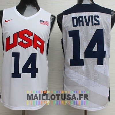 Maillot NBA Pas Cher - Maillot NBA 2012 USA NO.14 Anthony Davis Blanc