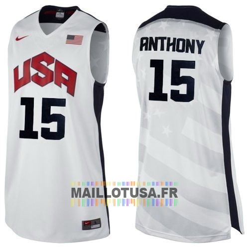 Maillot NBA Pas Cher - Maillot NBA 2012 USA NO.15 Anthony Blanc