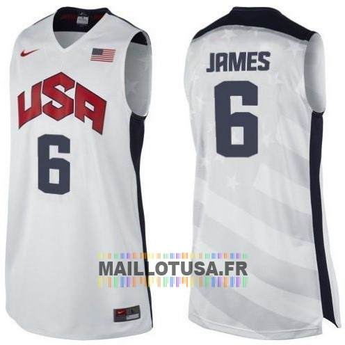 Maillot NBA Pas Cher - Maillot NBA 2012 USA NO.6 James Blanc