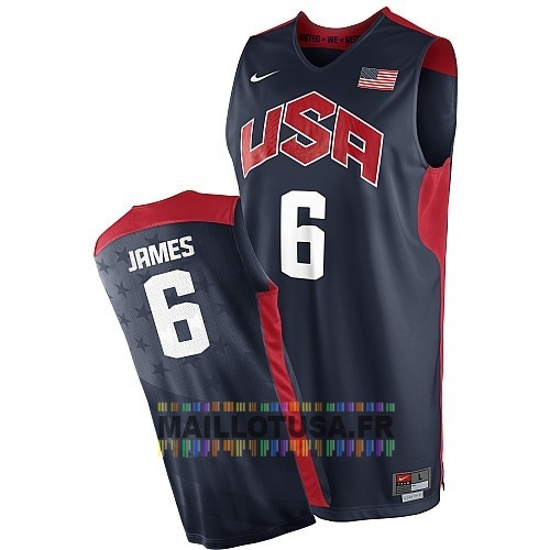 Maillot NBA Pas Cher - Maillot NBA 2012 USA NO.6 James Noir