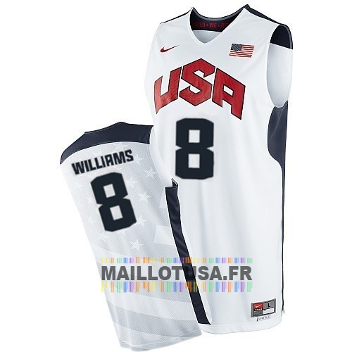 Maillot NBA Pas Cher - Maillot NBA 2012 USA NO.8 Williams Blanc